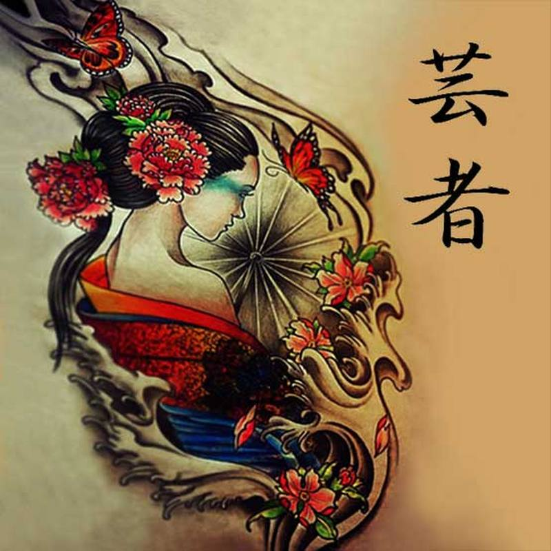 Cool geisha tattoo design