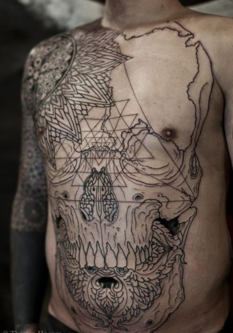 aad340c28850f Cool great black lines skull tattoo on whole body by Thomas Hooper ...