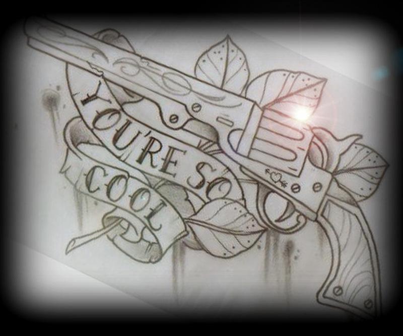 Cool gun tattoo design