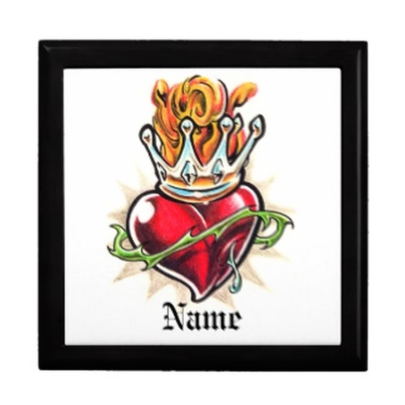 Cool heart with crown tattoo picture