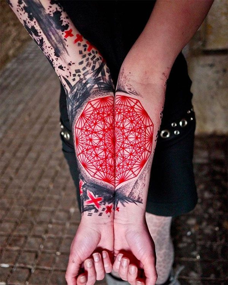 Cool idea of geometric forearm tattoo