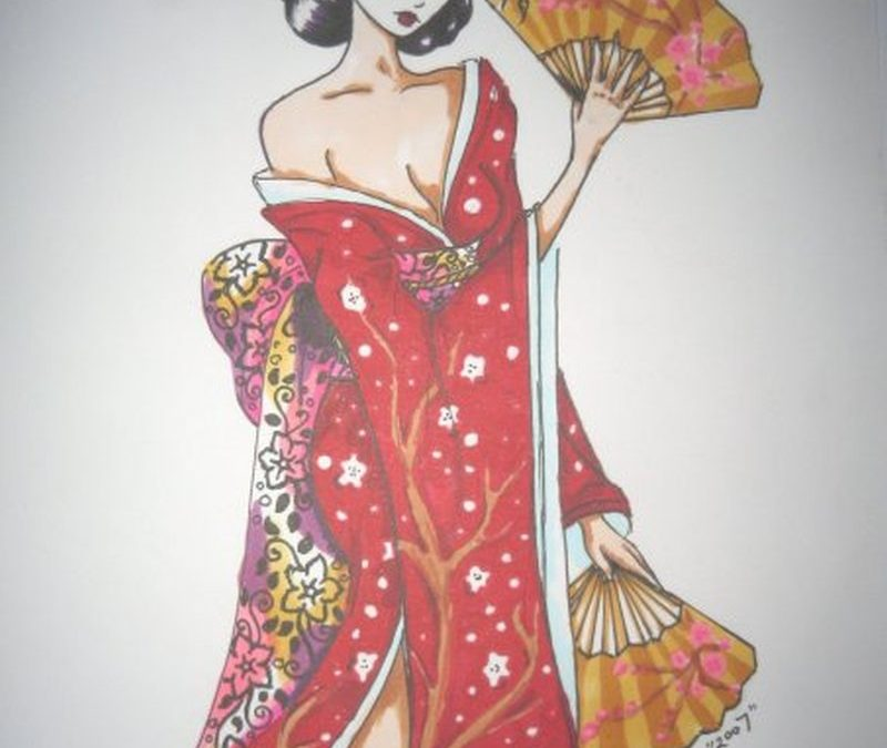 Cool japanese geisha tattoo design