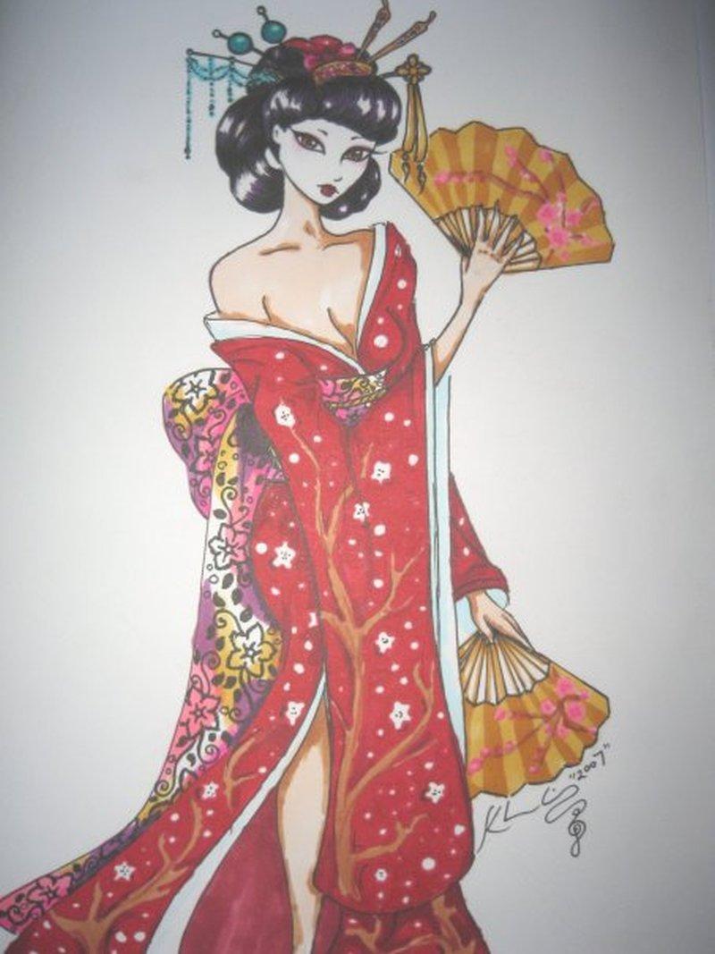 Cool japanese geisha tattoo design