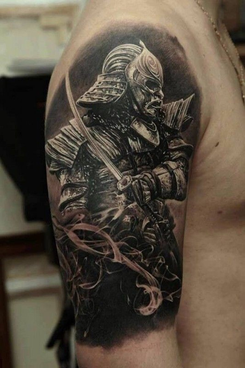 Cool japanese warrior tattoo by dmitriy samohin tattoos for Cool japanese tattoos