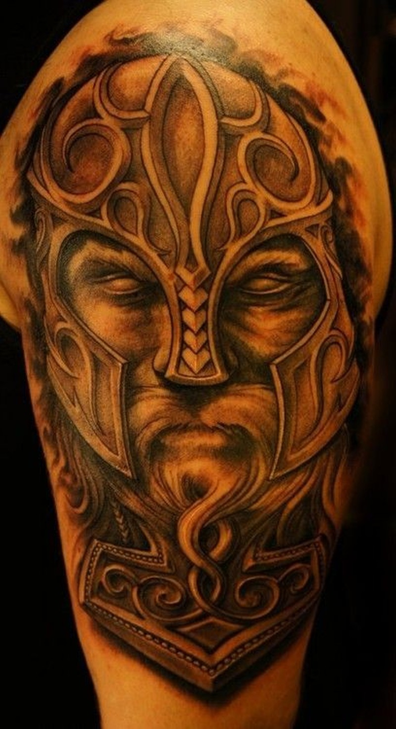 Cool Portrait Of A Viking Tattoo On Half Sleeve Tattoos Book