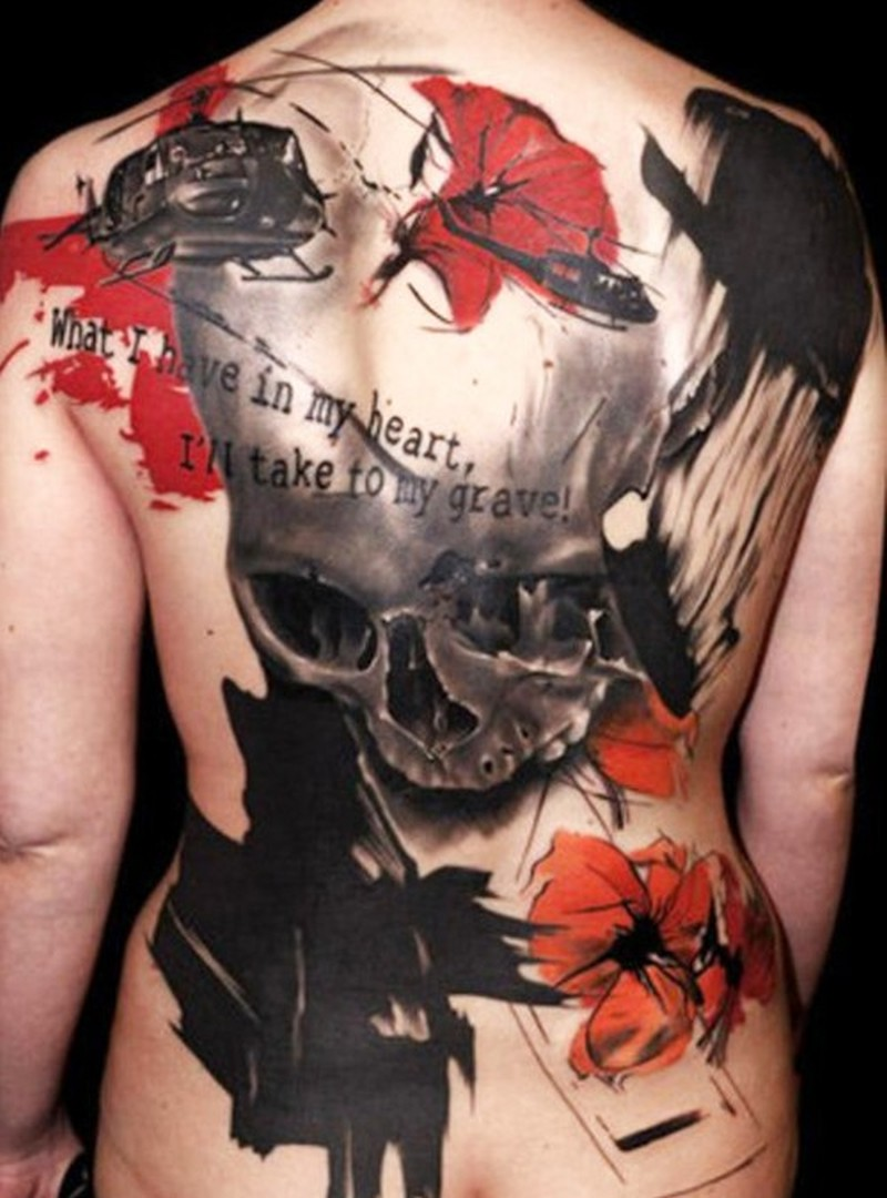 Cool Skull Tattoo In Modern Style On Back Tattoos Book 65 000