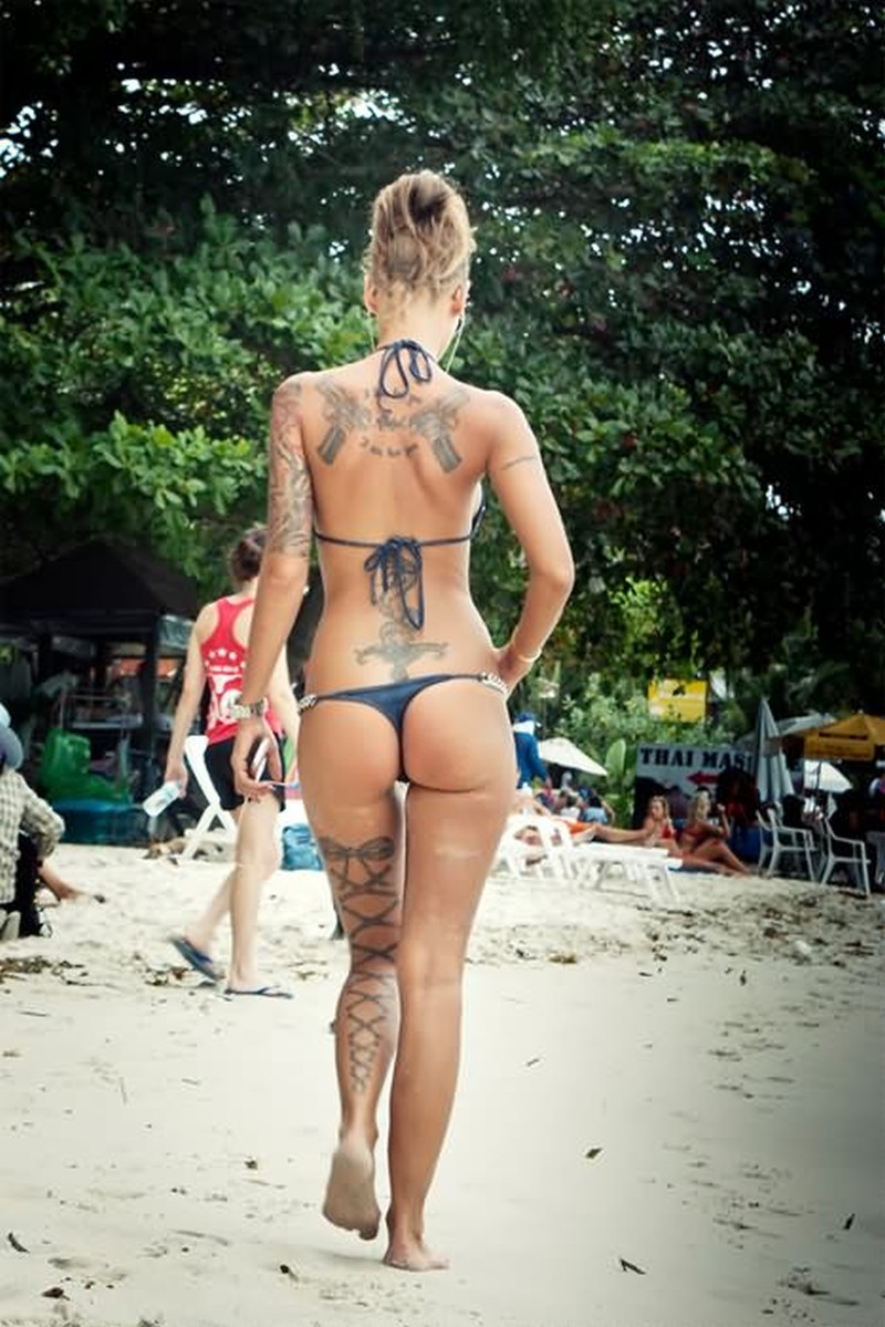 Corset tattoo on full leg for sexy girls