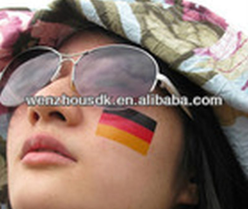 Country flag tattoo on face