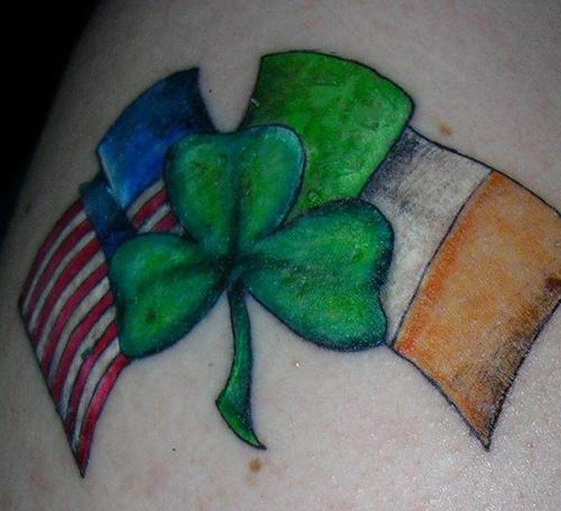 Country flags shamrock tattoo design