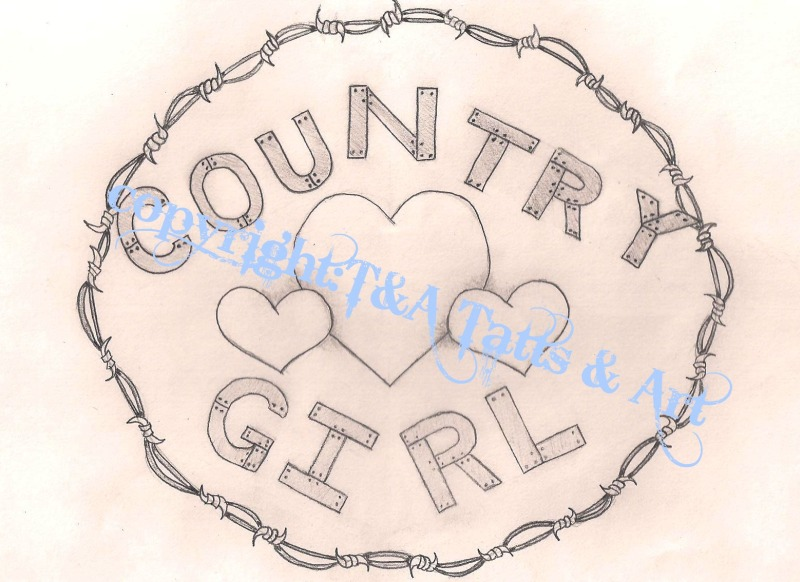 Country girl tattoo drawing