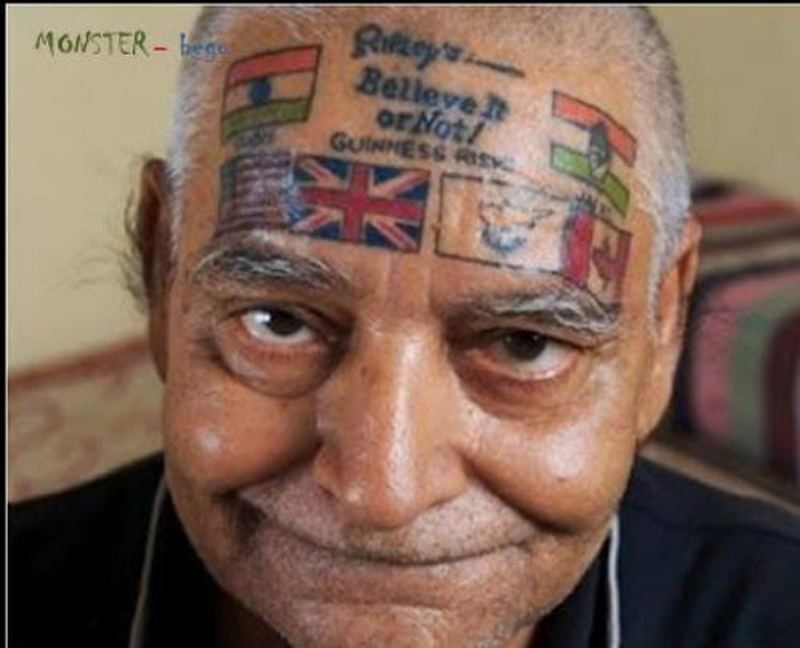 County flags tattoo on face