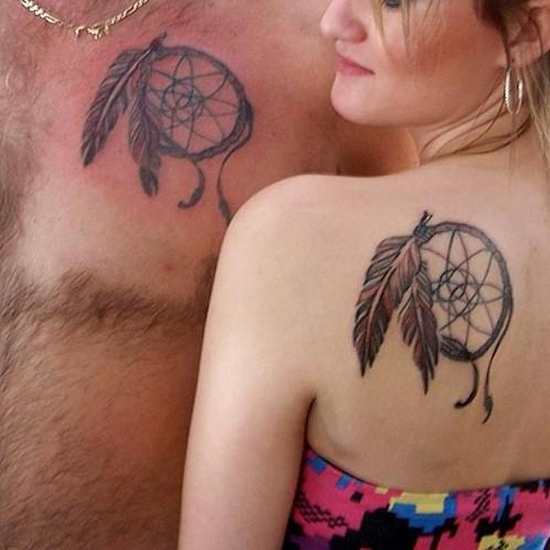 Couple feather dream catcher tattoo design