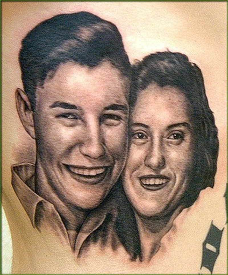 Couple portrait tattoo design