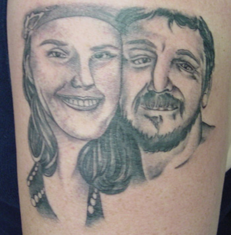 Couple portrait tattoo