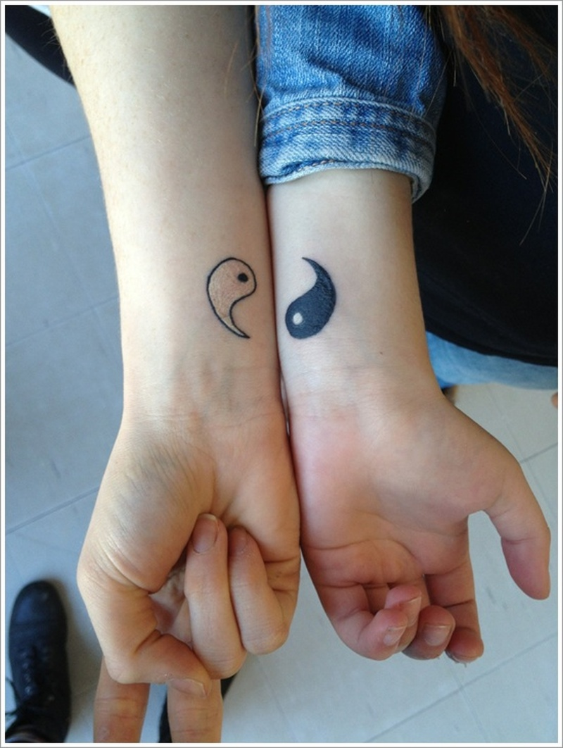 Couple yin yang tattoo design
