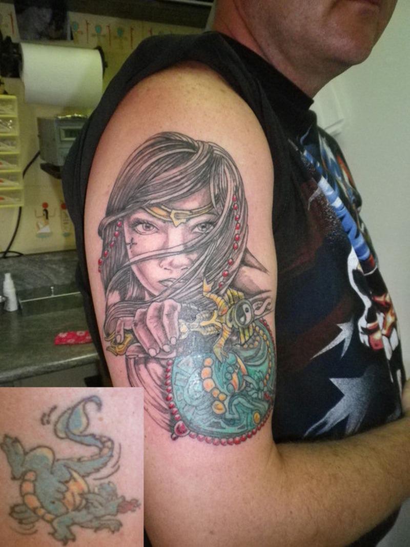 Book Cover Black Tattoo : Cover up geisha tattoo design tattoos book