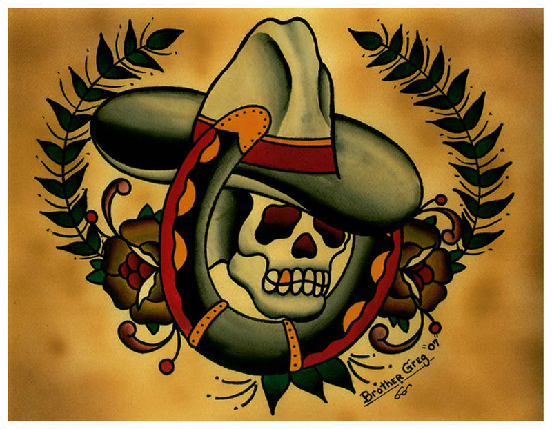 Cowboy skull horseshoe tattoo design