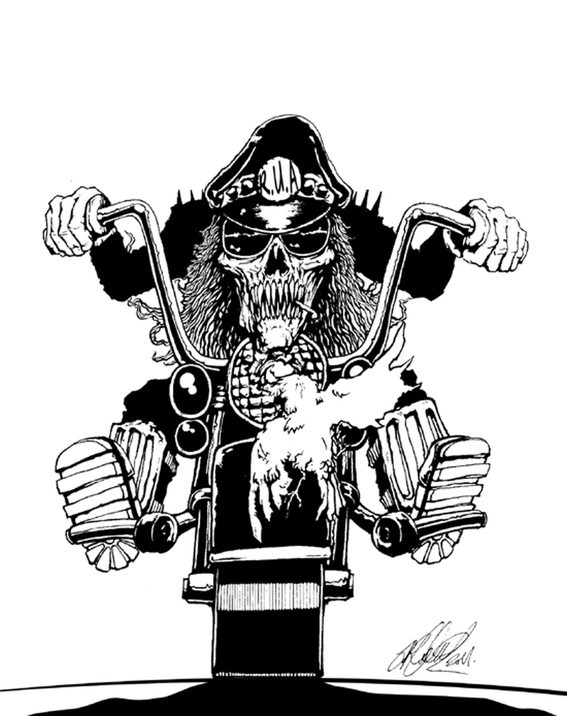 Cowboy skull on bike tattoo design