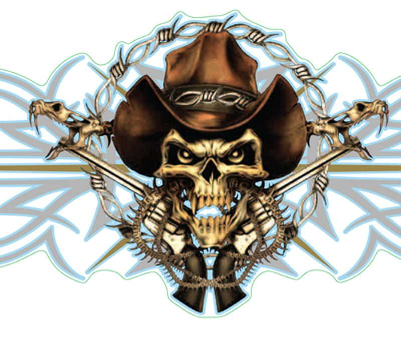 Cowboy skull tattoo design