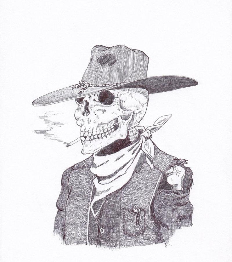Cowboy skull tattoo drawing