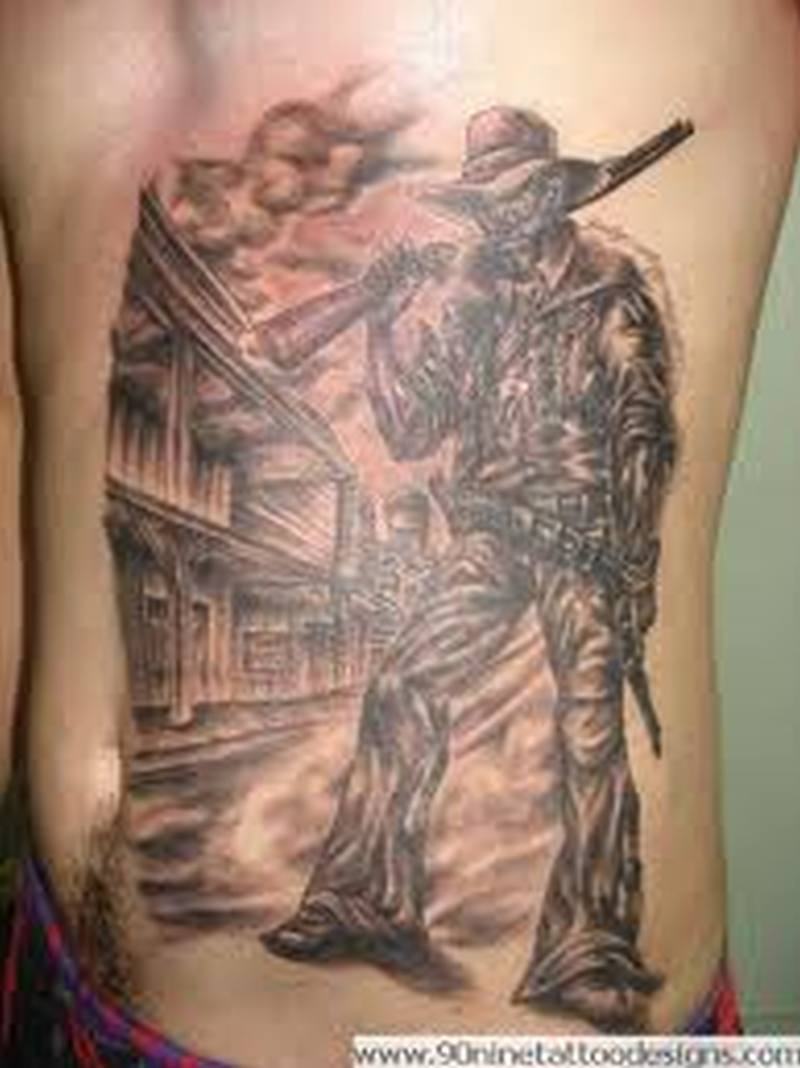 Cowboy tattoo on side belly
