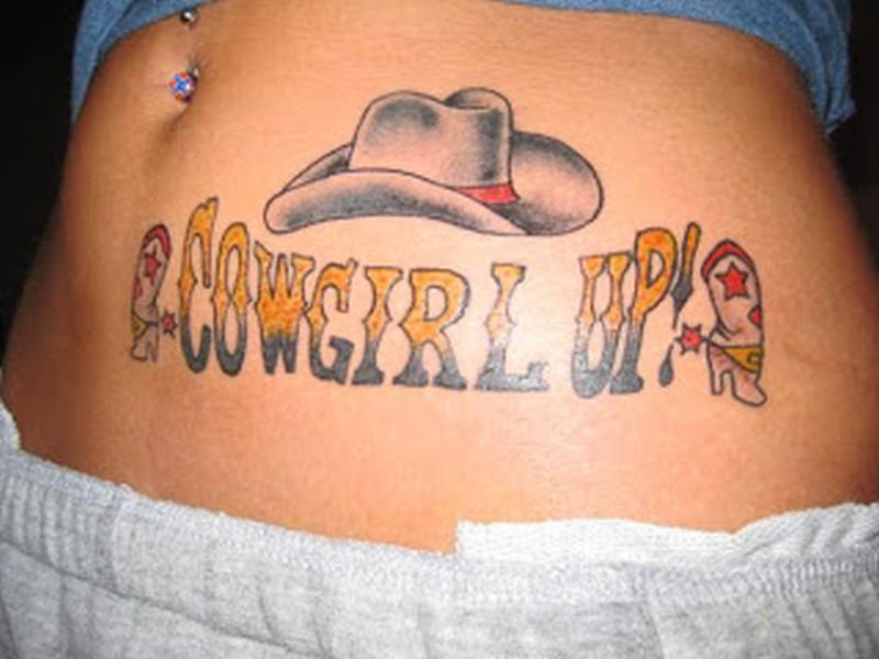 Cowgirl up tattoo on belly