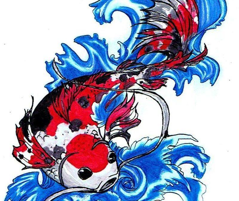 Coy fish tattoo design