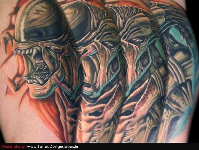 Crawling aliens skulls tattoo