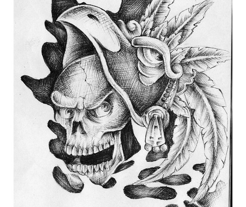 Crawling aztec skull tattoo design