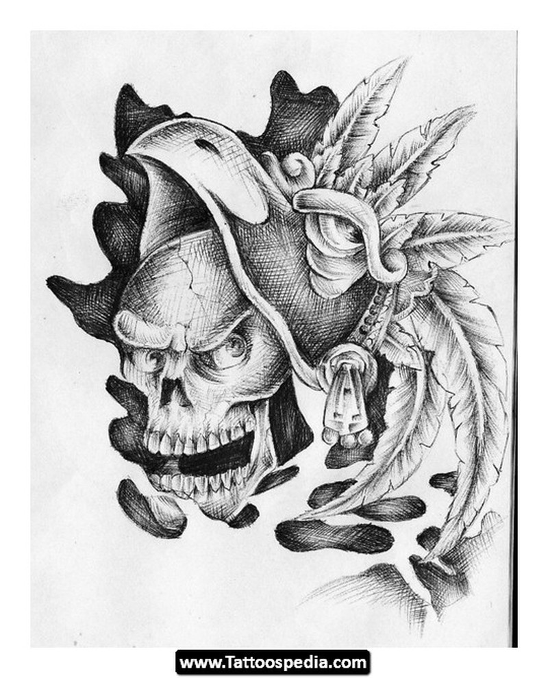 Crawling aztec skull tattoo design