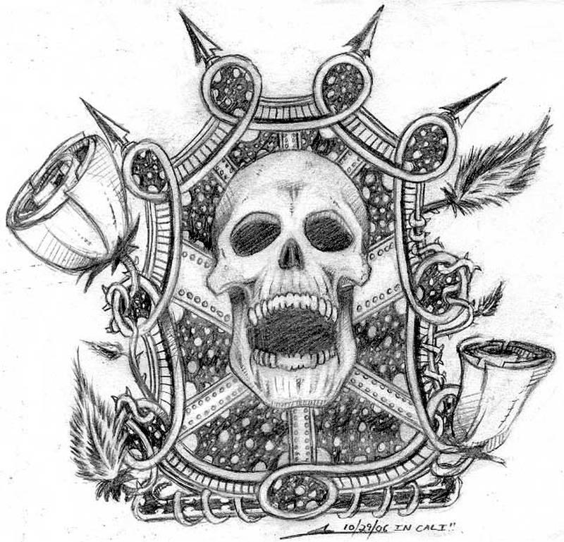 Crawling dia de los muertos skull tattoo design