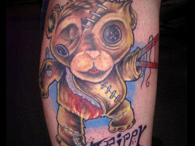 Creepy bear tattoo