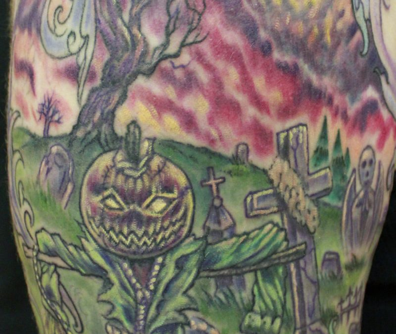 Creepy graveyard tattoo design on half sleeve
