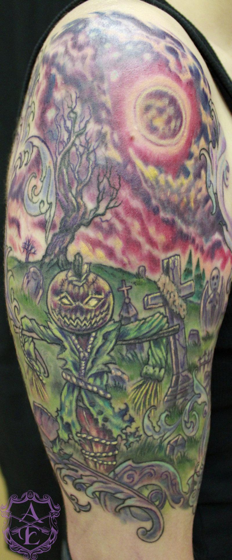 creepy graveyard tattoo design on half sleeve tattoos book. Black Bedroom Furniture Sets. Home Design Ideas