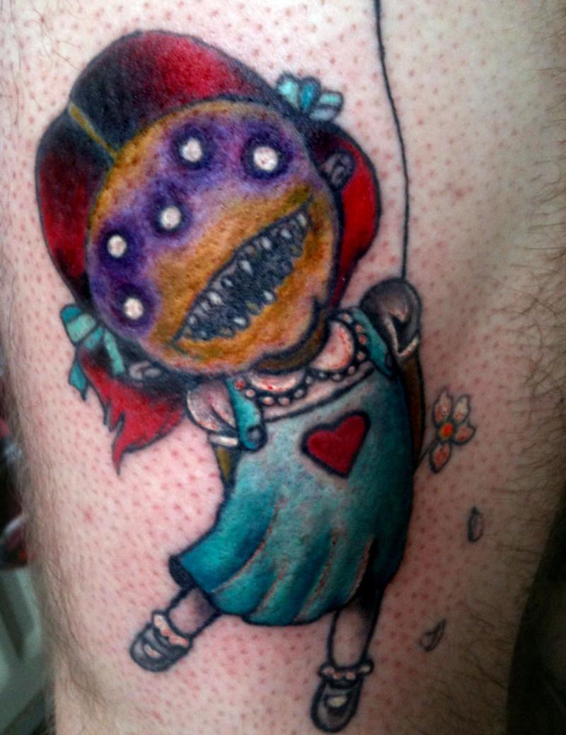Creepy little girl tattoo design