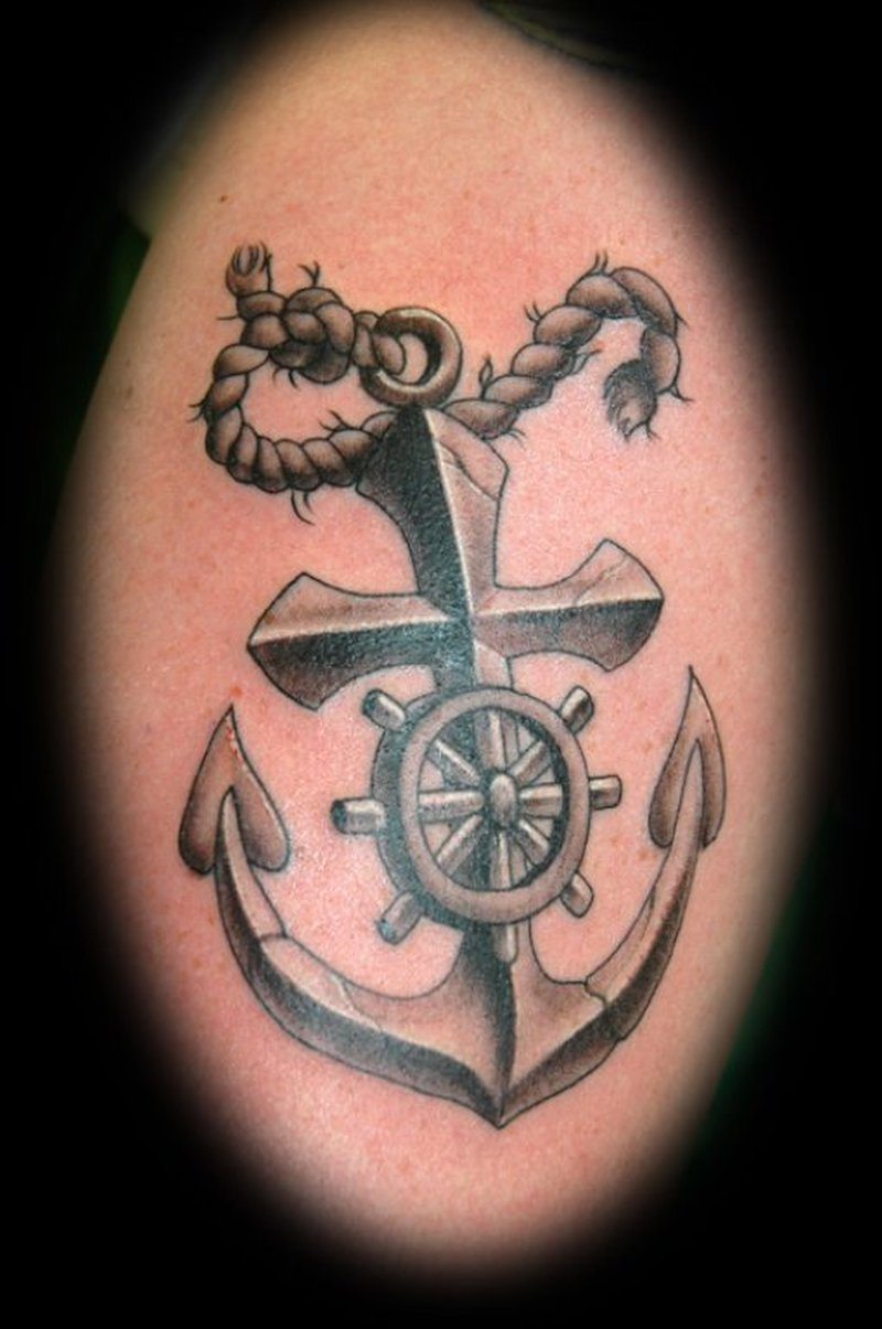 03d158cfa Cross anchor tattoo with wheel rope - Tattoos Book - 65.000 Tattoos ...