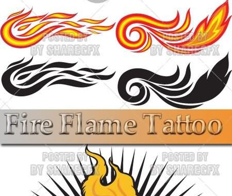 Cross fire n flames tattoo design