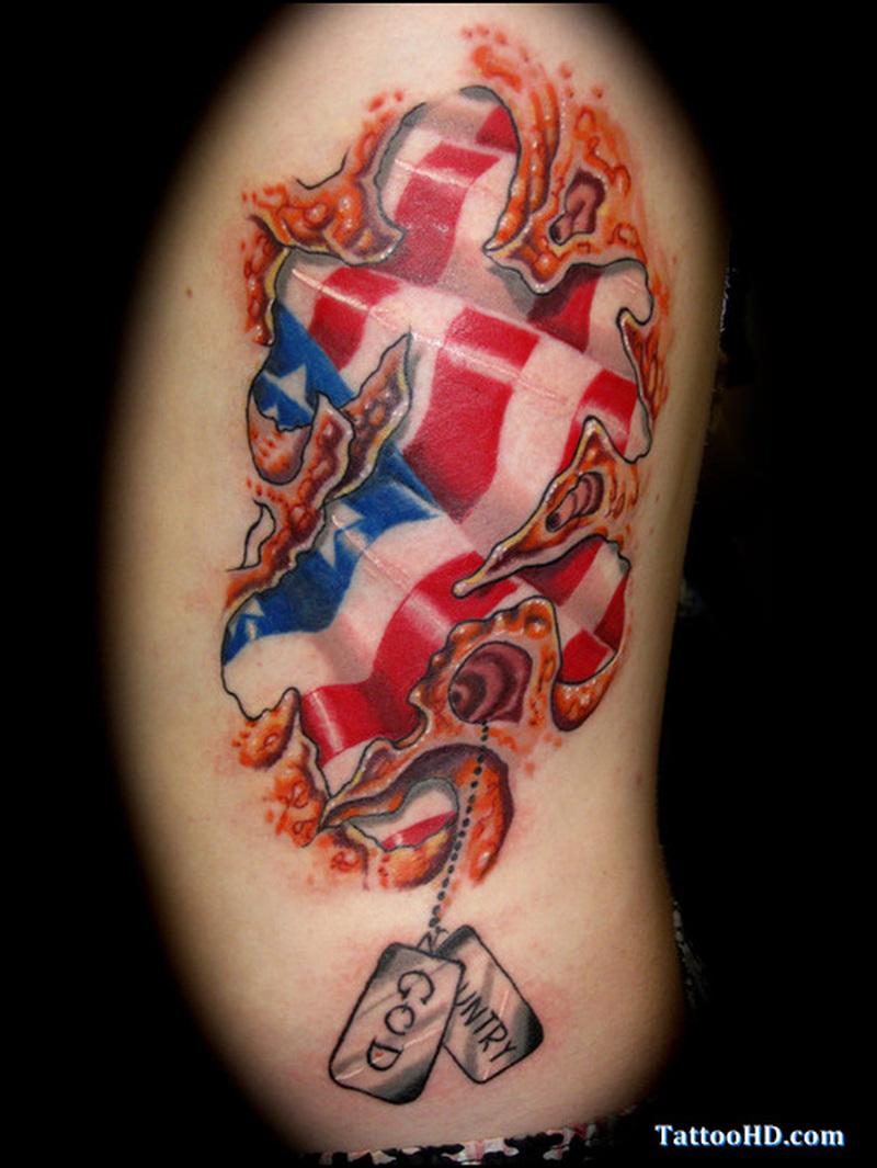 Cross flag tattoo design