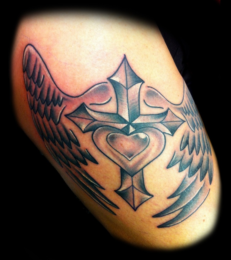 Cross heart n wings tattoo design