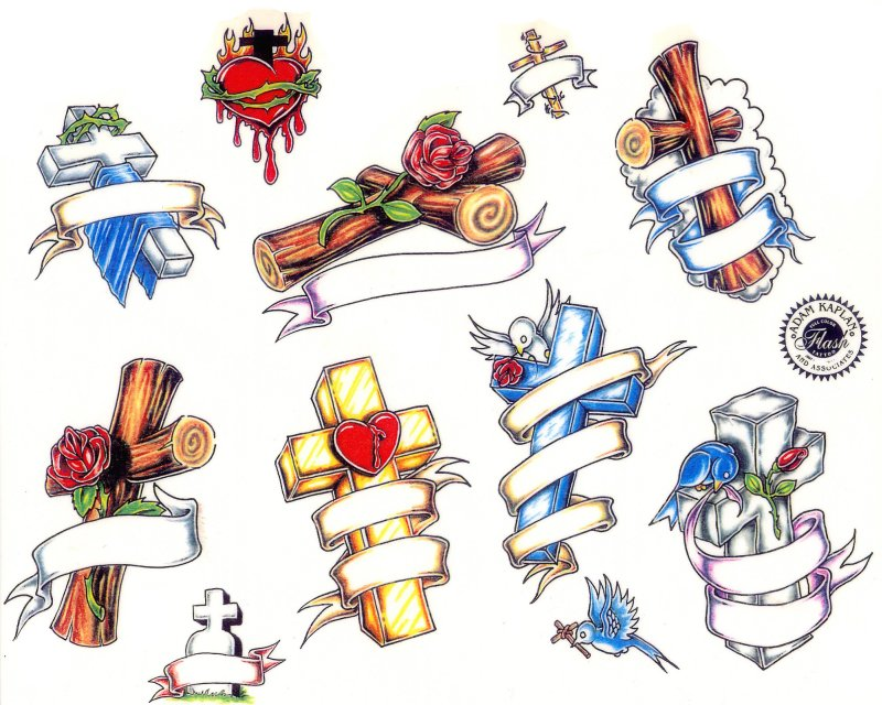 Cross heart tattoo designs