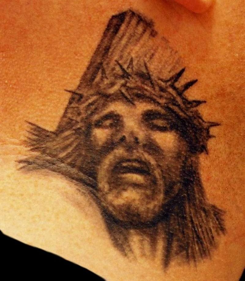 Cross n jesus head tattoo design