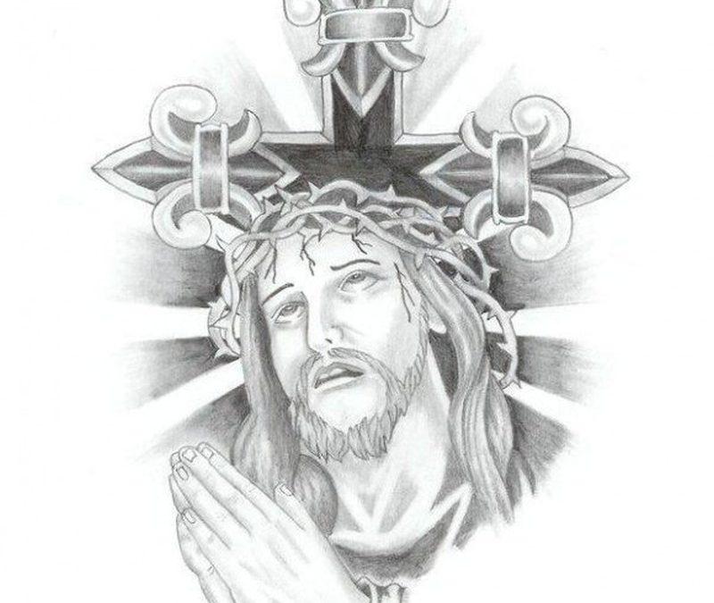 Cross n praying jesus tattoo design