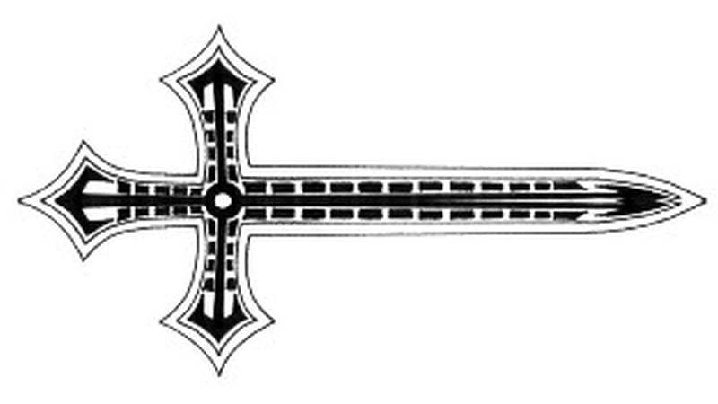Cross sword tattoo design
