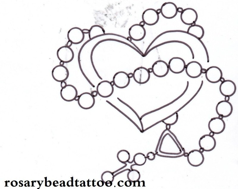 Cross with heart tattoo design