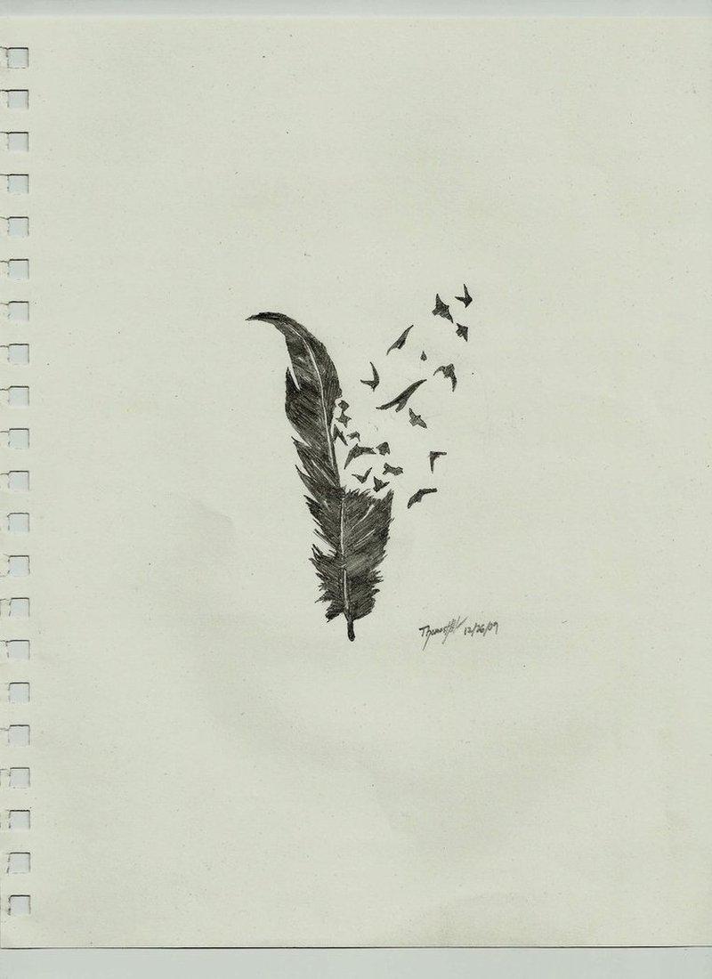 Crow feather n birds tattoo design
