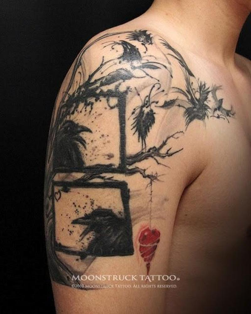 crow tree with hanging heart tattoo on upper arm tattoos book tattoos designs. Black Bedroom Furniture Sets. Home Design Ideas