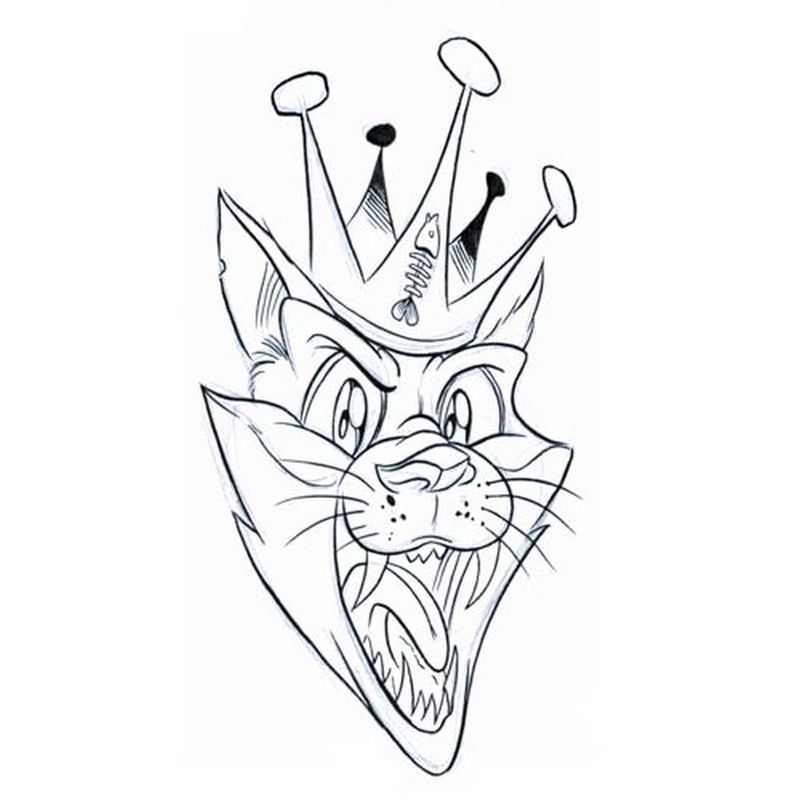 Crown cat tattoo sample