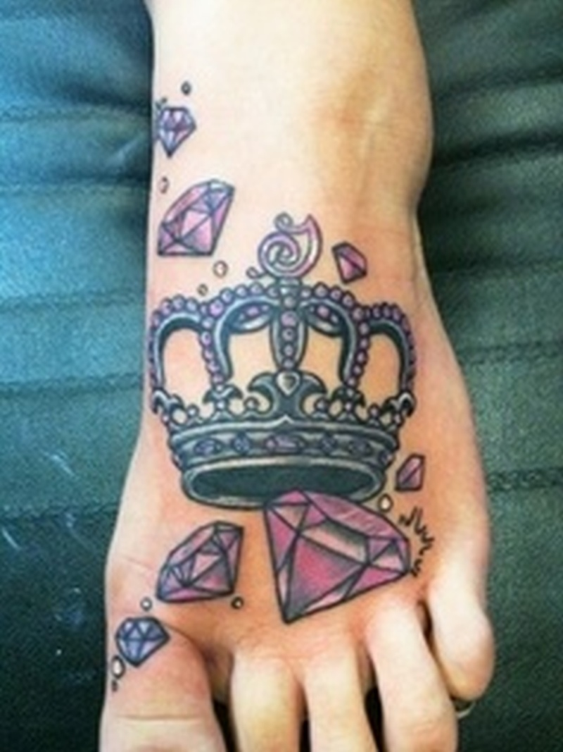 Crown n diamonds tattoo on foot