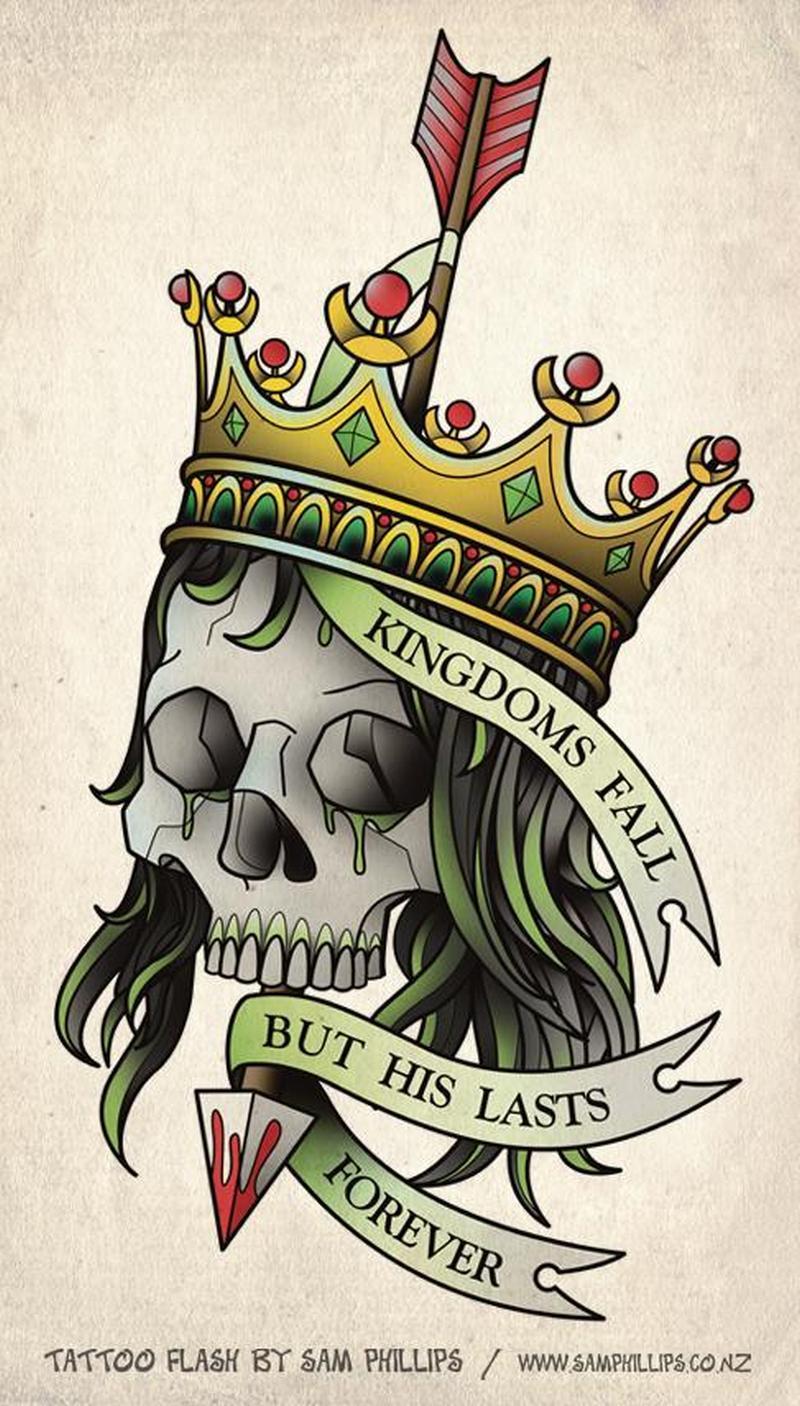 Crown skull tattoo design