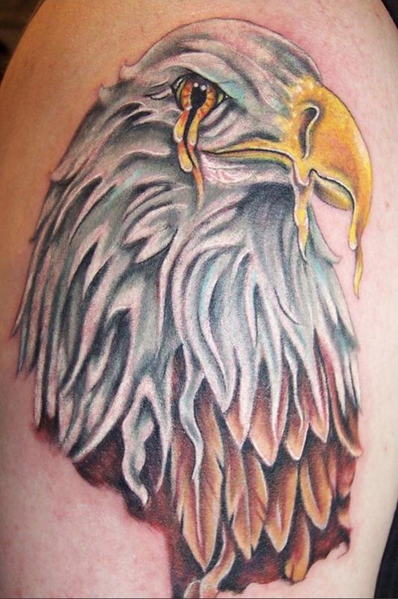 Crying eagle head tattoo design